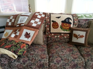 fall porch quilts.2015